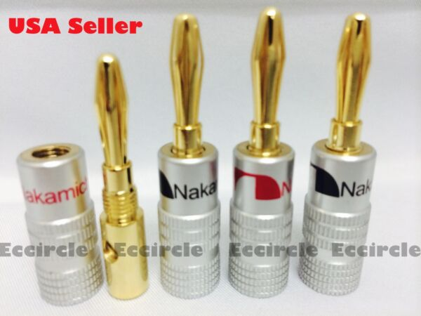 20 Nakamichi Speaker banana plug Adapter 4mm Wire connector 24K Gold Plated
