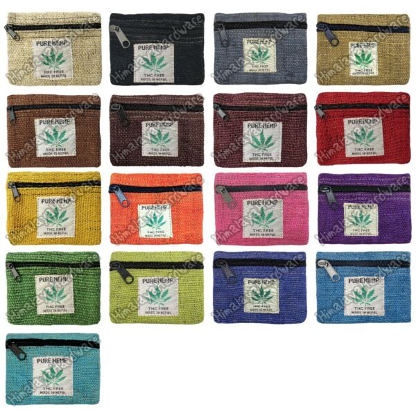 100% Hemp Pouch small Bag Case Zipper Rasta Coin Purse Marijuana Leaf Ganja Tote $4.99