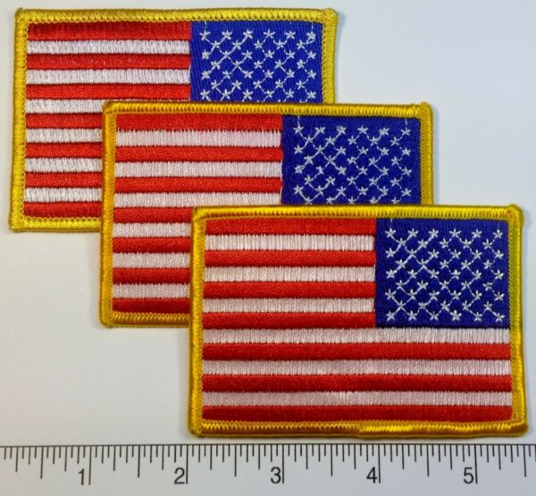 3-pack: REVERSE American FLAG Embroidered Patch - 3.5 x 2.25