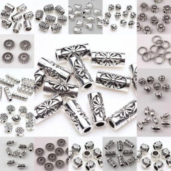 50100pcs Silver Plated Loose Spacer Beads Charms Jewelry Making Findings DIY