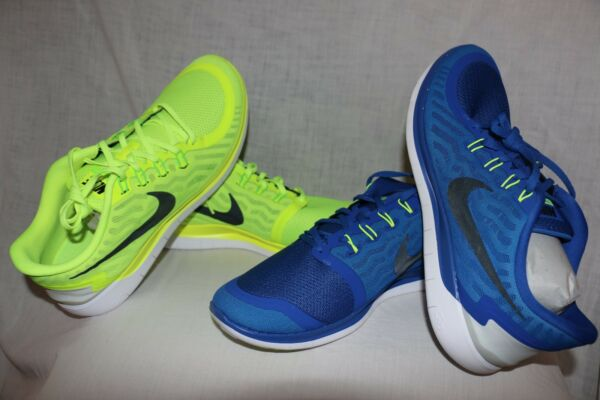 Nike Free 5.0 Men's Athletic Running Sneakers - Electric Green/Royal Blue