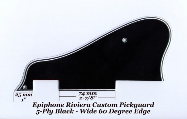 Riviera 5-Ply Black Mini-HB's Custom Pickguard & Bracket for Epiphone Project