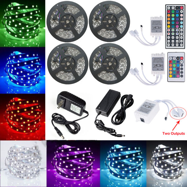 5-20M RGB 5050 SMD Waterproof 300 LED Light Strip Flexible Remote 12V US Power