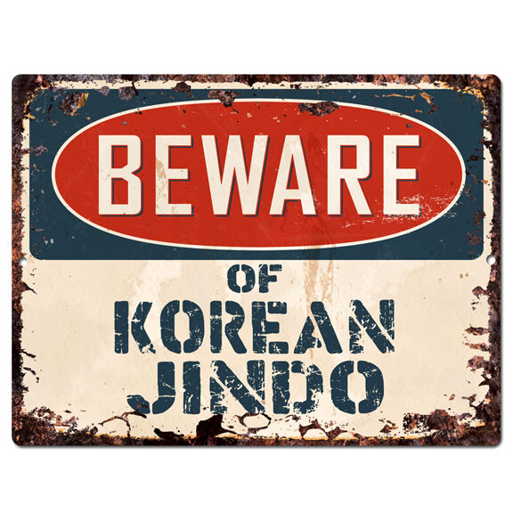 PPDG0114 Beware of KOREAN JINDO Plate Rustic TIN Chic Sign Decor Gift