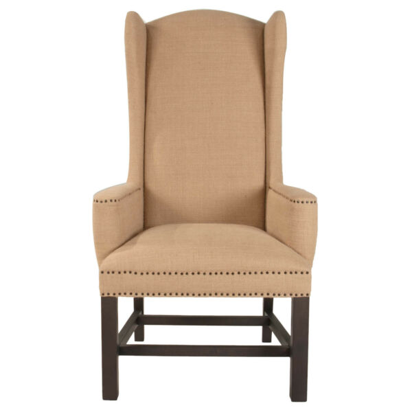 Villa Bennett Arm Chair Set of 2 English Wing Chairs Captain Dining Burlap