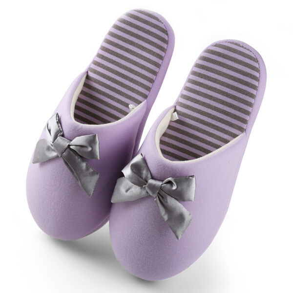 Aerusi Women Winter Warm Bowkont Stripe Slippers Soft Cozy House Indoor Shoes US $11.99