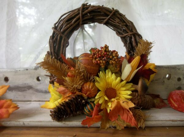 Autumn wreathFall candle ringSmall fall and Thanksgiving wreathHarvest Wreath