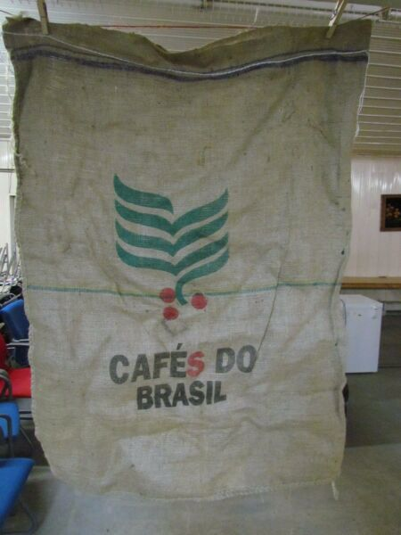 LARGE CAFES DO BRASIL COFFEE BEAN BURLAP SACKS - APPROX 37 IN X 27 IN