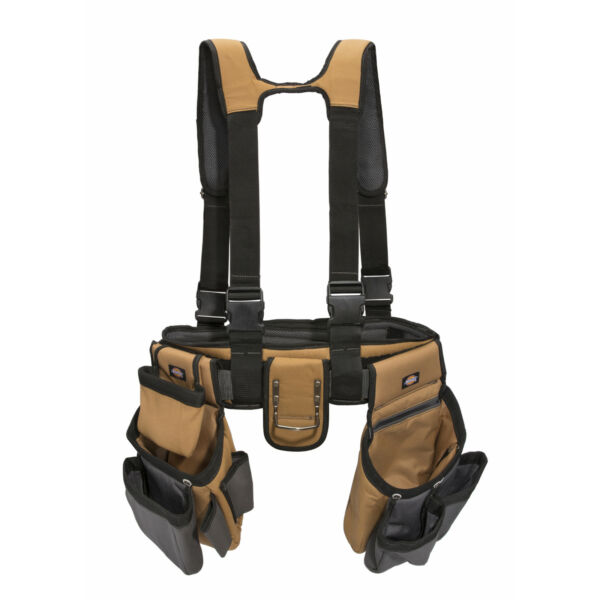 57023 4-Pc Tool Belt Carpenter Suspender Strap Holster Pocket Pouch Framer Rig