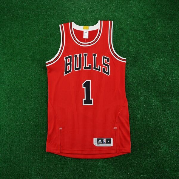 2015-16 Derrick Rose ADIDAS Chicago Bulls Authentic On-Court Away Red Jersey