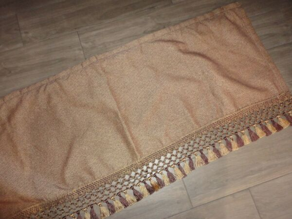 CROSCILL BROWN GOLD TEXTURED FAUX JUTE FRINGE BRAIDED (1) TAILORED VALANCE 50X19