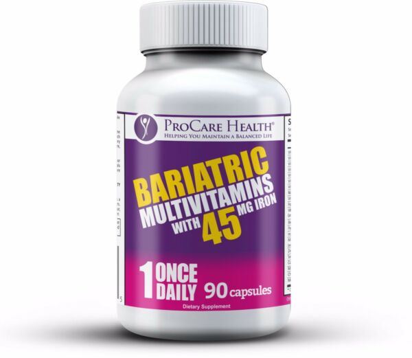 Bariatric Once Daily Multivitamin 90Ct Capsule-45mg Iron-Gastric Bypass Sleeve