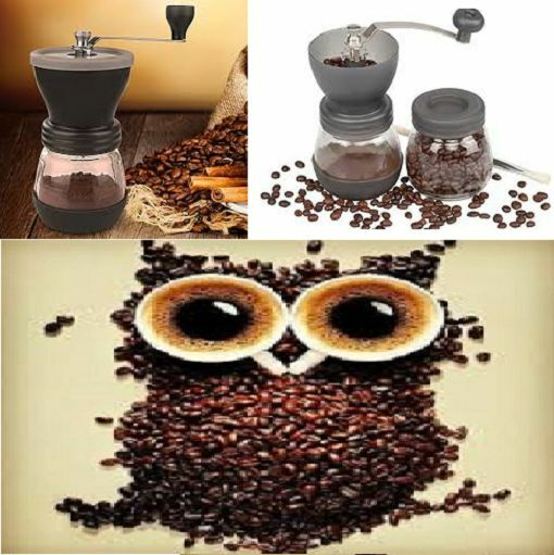 Manual Coffee Bean Mill Grinder Ceramic Burr bonus scoop cleaning brush