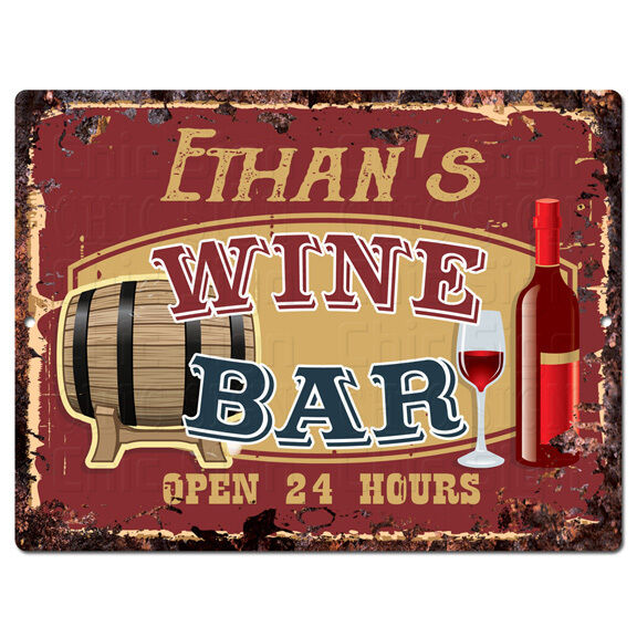 PMWB0528 ETHAN'S WINE BAR OPEN 24HR Rustic Chic Sign Home Store Decor Gift