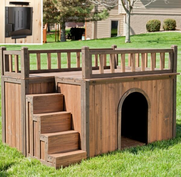 Wood Dog House + Heater Outdoor Tent Weatherproof Large Pet Shelter Cage Kennel
