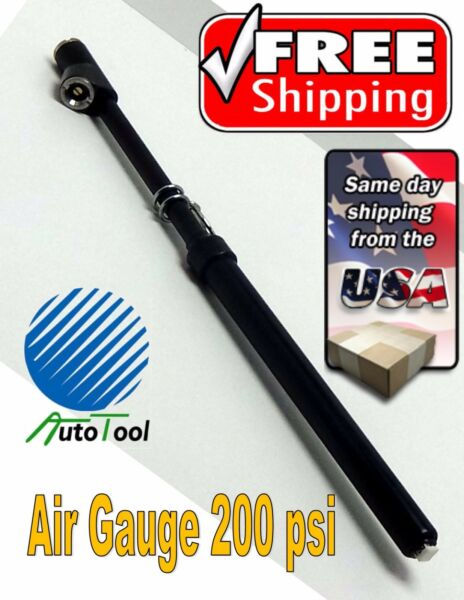 STRAIGHT HEAD TRUCK TIRE AIR PRESSURE GAUGE 150 PSI  TRUCKER TIRE GAUGES BLACK