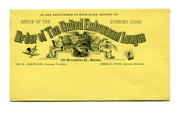 Vintage Illustrated Envelope ORDER OF THE UNITED ENDOWMENT LEAGUE Boston MA
