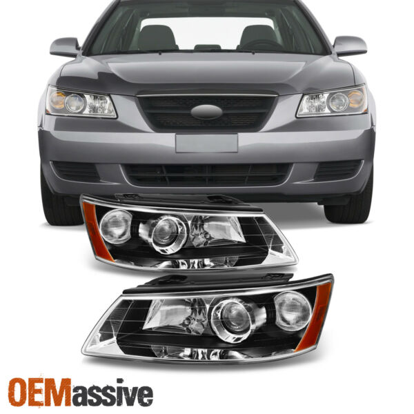 Fits 06-08 Sonata Black Bezel Projector Headlights Replacement Left + Right Pair