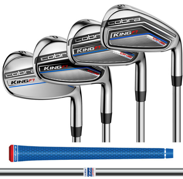 NEW 2017 COBRA KING F7 ONE LENGTH IRON SET STEEL F7 SHAFTS CHOOSE FLEX 5-PW+GW
