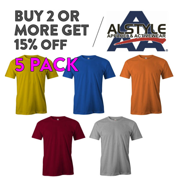 5 PACK AAA ALSTYLE 1301 MENS CASUAL T SHIRT PLAIN SHORT SLEEVE SHIRTS COTTON TEE