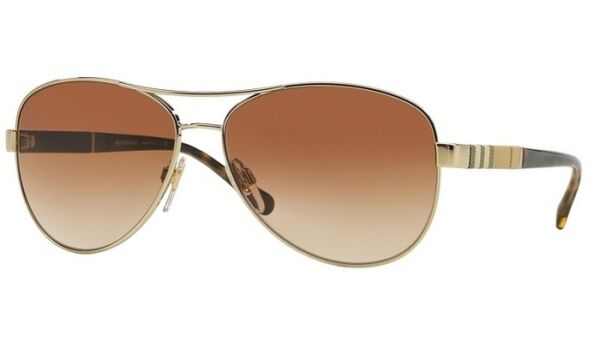 NWT Burberry Sunglasses BE 3080 1145 13 Gold Brown Gradient 59 mm 114513 NIB $115.00