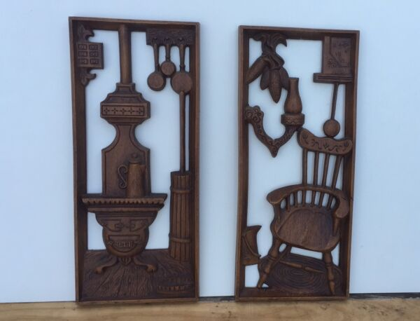 PAIR OF Vintage Turner wall accessory 3d art INTERIOR SCENES WOODSTOVE CHAIR