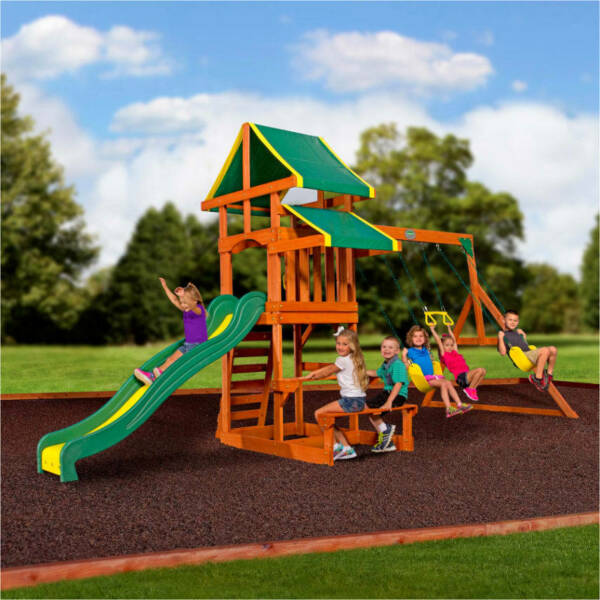 Backyard Discovery Tucson Cedar Wooden Swing Set Outdoor Playset Playground