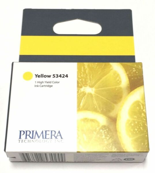 2 pk New Primera Ink Cartridge 53424 Yellow for LX900 Color Label Printer