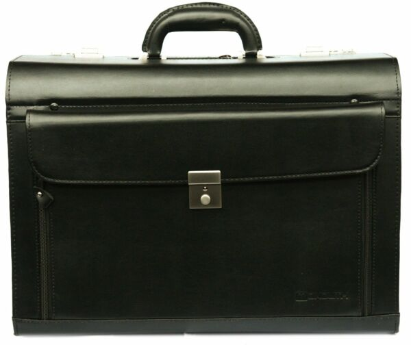 High Quality Faux Leather Black PVC Pilot Doctor Case Bag With Front Flap Pocket