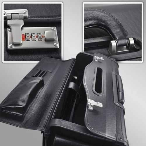 Wheeled Pilot Case Rolling Laptop RollerBag Briefcase LeatherHand Luggage Flight