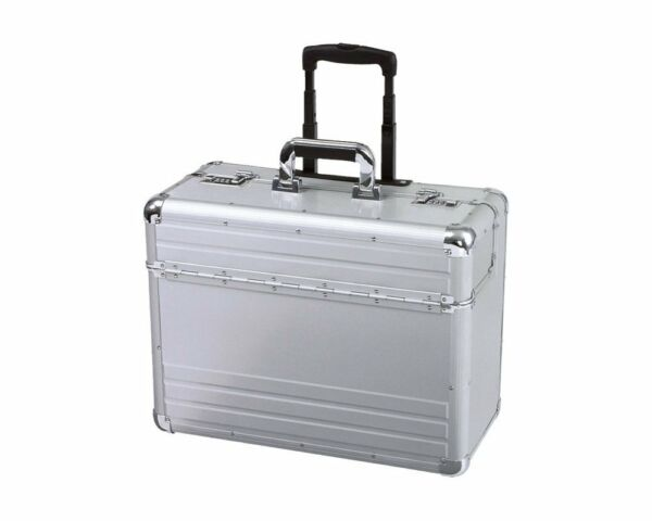 Aluminium Pilot Doctor Wheeled Case Briefcase Carry Luggage Work Business