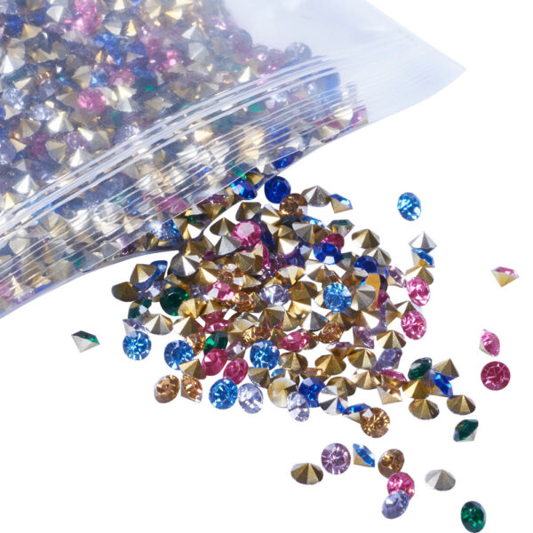1 Bag Mixed Diamond Pointed Back Resin Rhinestone Findings Pick Size 2 8mm Craft $7.09