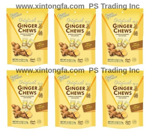 6 x Prince Of Peace 100% Natural Ginger Candy Chews 4 oz Each (6 Bags)