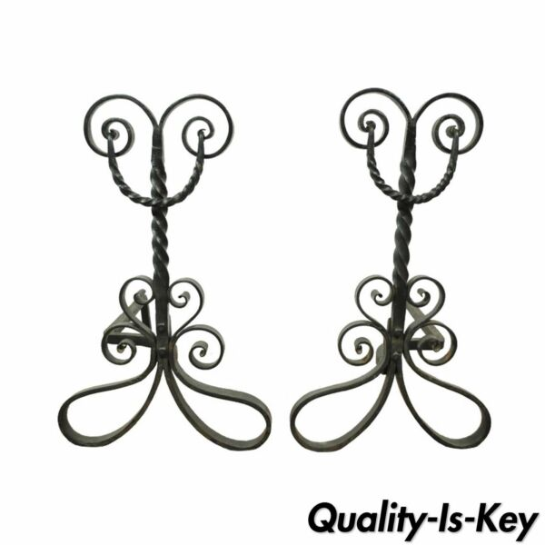 Pair of Antique Wrought Iron Arts & Crafts Art Nouveau Scrolling Andirons Black