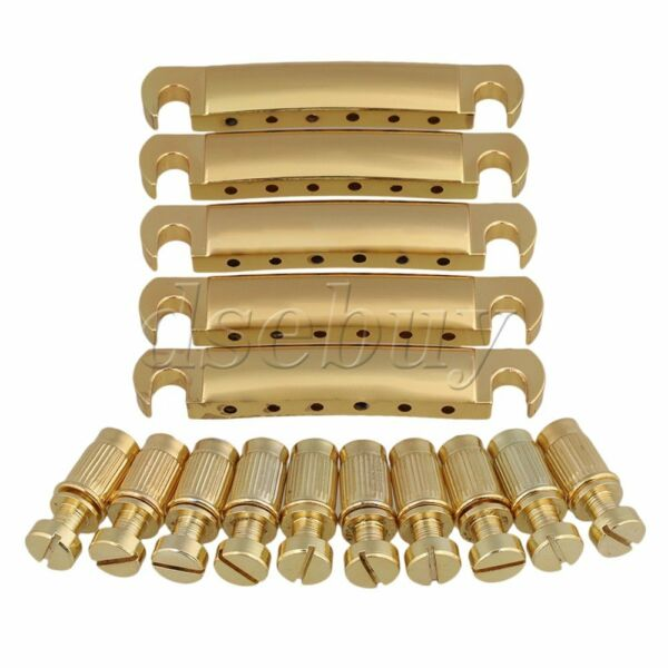 5 PCS Gold Stop Bar Tune-O-Matic Tailpiece & Anchors for Electric Guitar