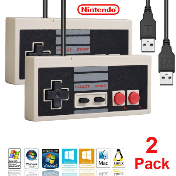 For Classic NES Retro Windows Mac PC Classic Gaming USB Controllers Gamepad 2 X