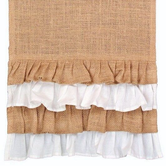 54quot; White amp; Natural Multi Ruffle Jute Burlap Table Runner