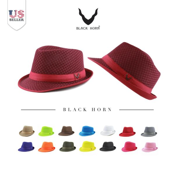 Fedora Hat Black Horn Light Weight Classic Soft Summer Cool Mesh Fedora