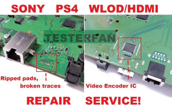Fix Broken Sony PS4 System WLOD HDMI Ripped Pads Video Encoder IC Repair Service $72.97