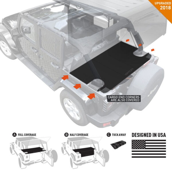 GPCA Jeep Wrangler JK 4DR Cargo Cover LITE 2007-18 under hard/ softtop Authentic