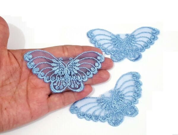 3-100 pcs Small Light Blue Butterfly Lace Patch Craft Appliques Motif Sew on A15