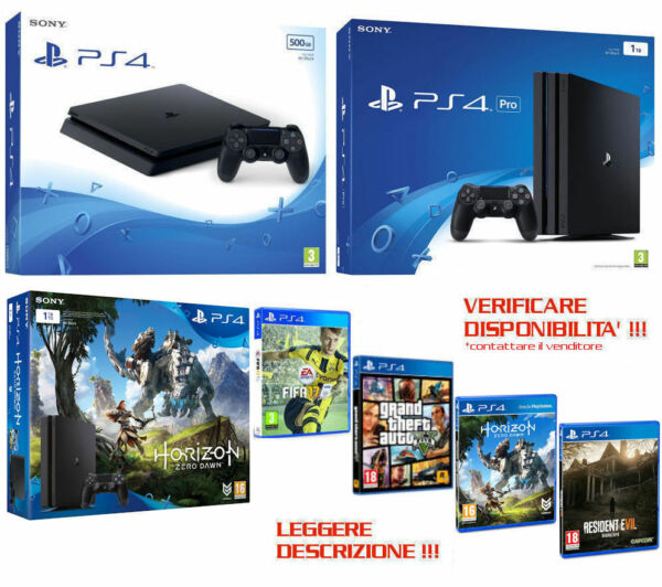Sony PLAYSTATION 4 PS4 500GB,1TB,PRO,FIFA,GTA,HORIZON,RE7,Nuova,Garanzia,PAYPAL
