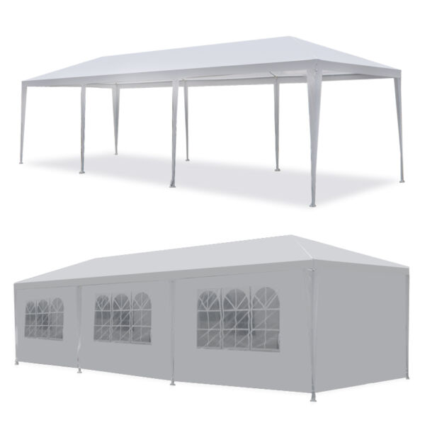 10#x27;x30#x27; Walls 8 Outdoor Gazebo Canopy Wedding Party Tent 8 Removable White