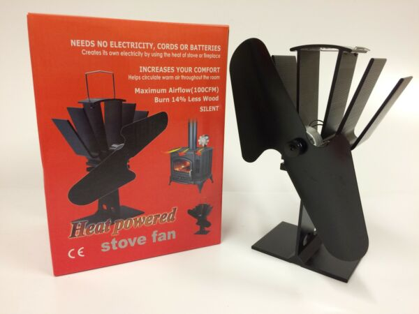 BLACK HEAT POWERED WOOD STOVE FAN - HIGH QUALITY -