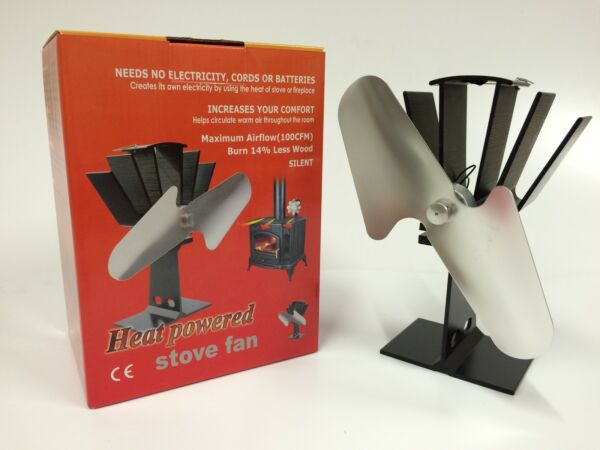 NICKEL HEAT POWERED WOOD STOVE FAN - HIGH QUALITY -