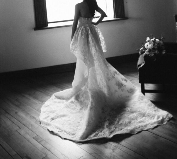 Marchesa Ambrosia Wedding Gown size 0 with veil and peplum train $10000