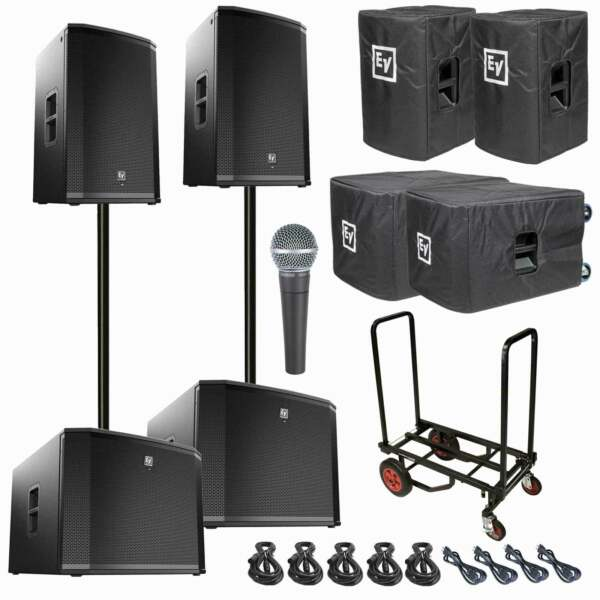 Two Electro-Voice ETX-15P PoweredActive Speaker + ETX-18SP + SM58 + Stands Used