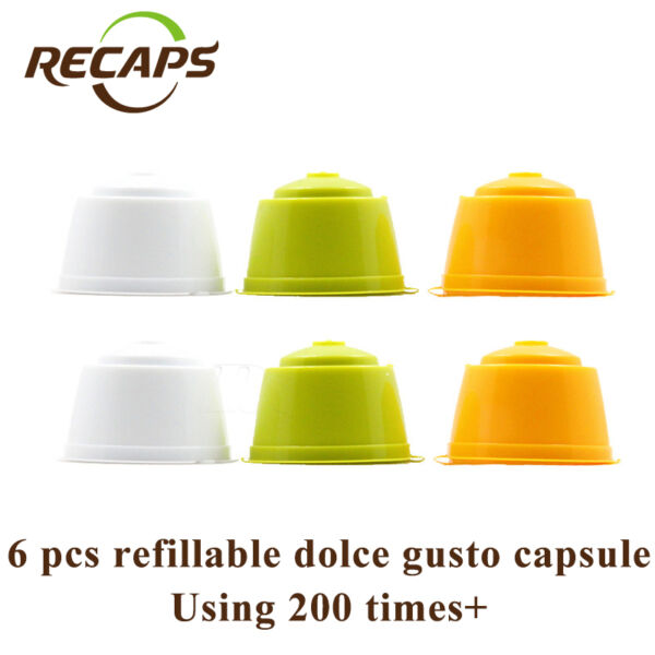 6pcs Refillable Dolce Gusto Coffee Capsule Refilling 300 Times Reusable Capsules