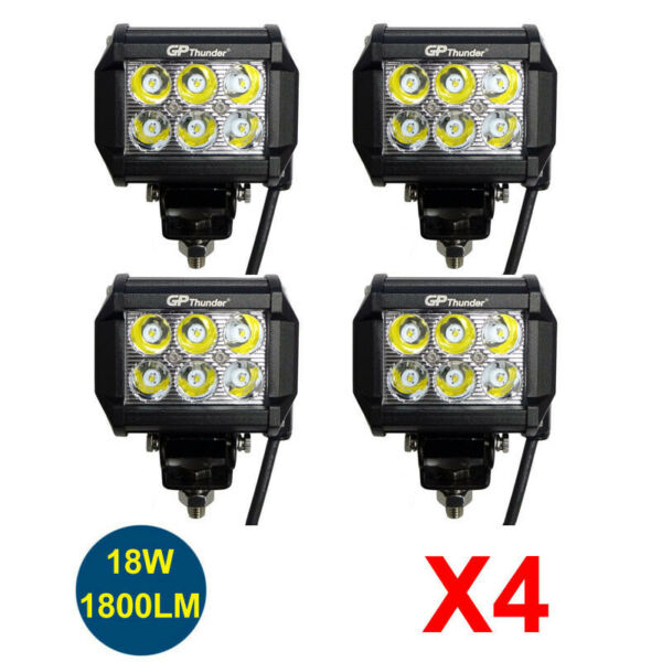 4pcs 4 inch Off Road 18W LED Fog Lamp Work Light Bar SUV Boat 4 LED SPOT Lamps