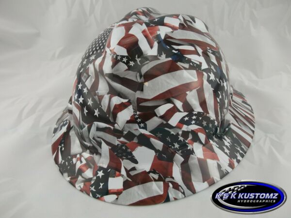 Freedom Pattern Full Brim NEW Custom MSA V GARD Hard Hat w Fas Trac Ratchet